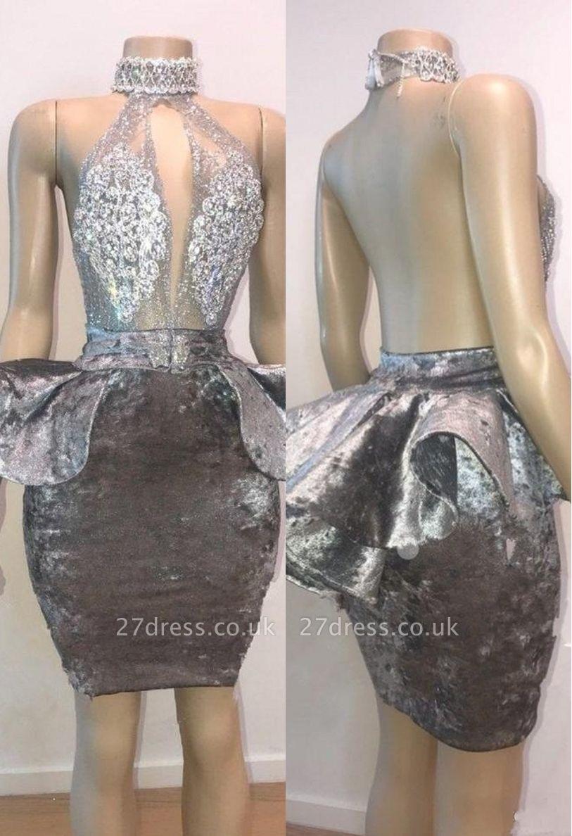 Halter Keyhole Neckline Lace Appliqued Short Prom Dress UKes UK UK