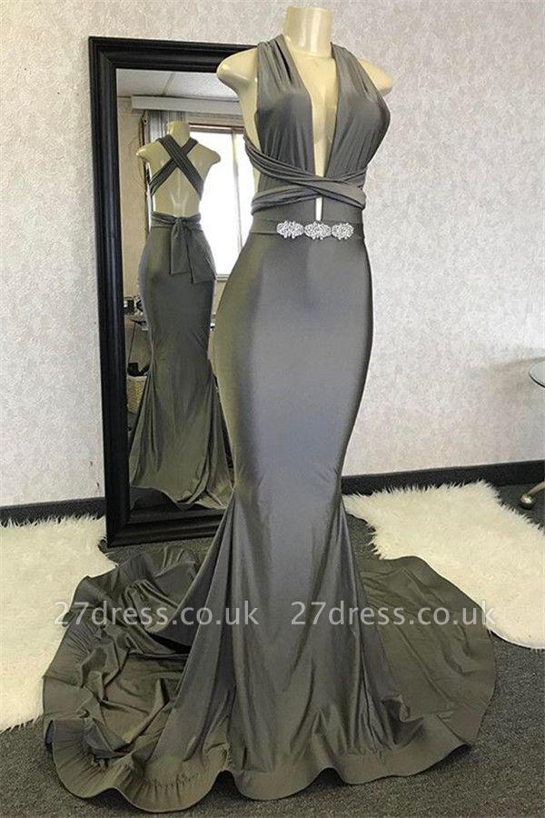 Elegant Hot Mermaid Halter Sleeveless Crystal Criss Cross Prom Dress UKes UK UK