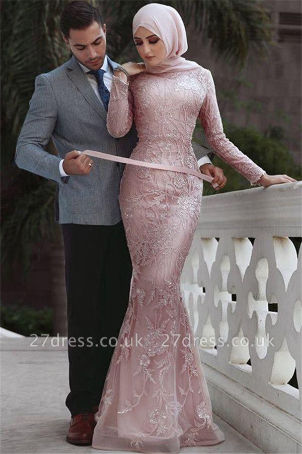 Sweet Pink Detachable Long-Sleeves Prom Dress UKes UK UK | Sexy Lace Appliques Lace Elegant Trumpt Evening Dress UKes UK