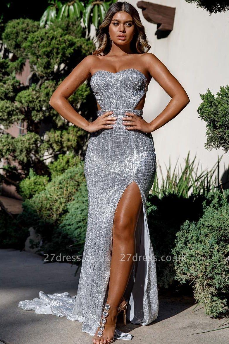Unique Cute strapless Sleeveless Elegant Mermaid Front Split Prom Dress UK UK