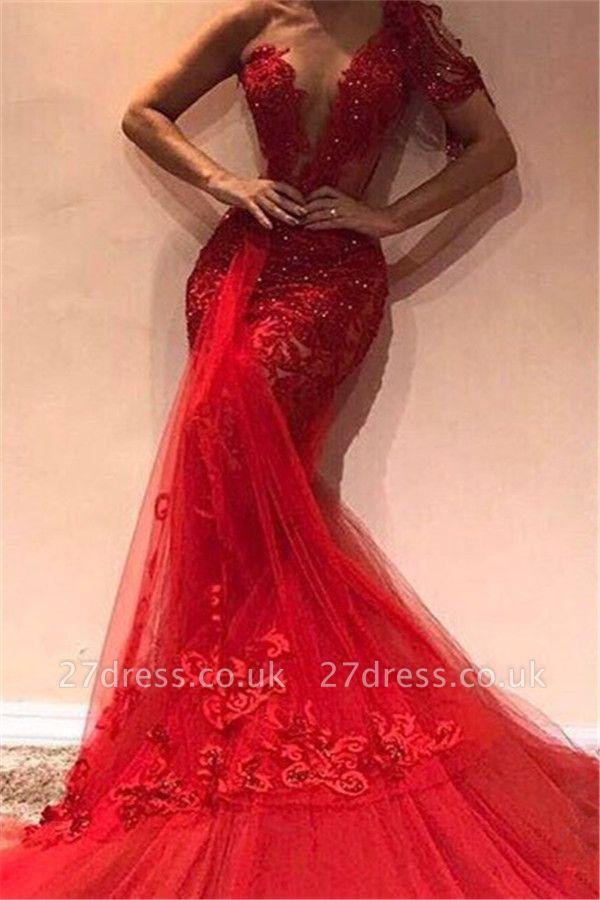 Luxury Elegant Mermaid One Shoulder Tulle Lace Appliques Prom Dress UKes UK UK