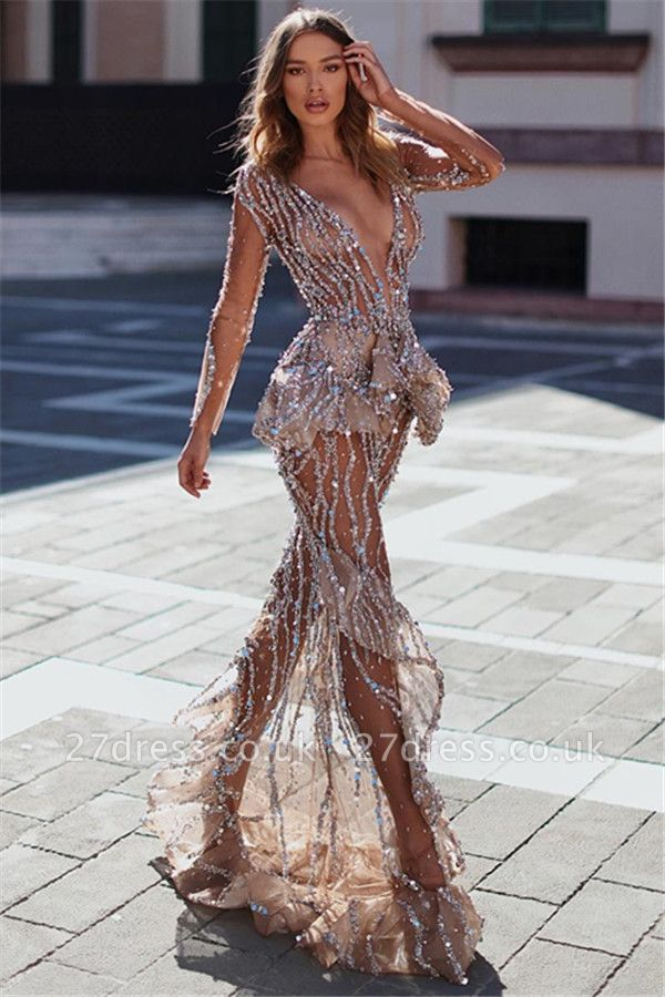 Elegant hot Mermaid Sexy V-Neck Long Sleeves Sheer Tulle Sparkly Crystal Applique Prom Dress UKes UK UK