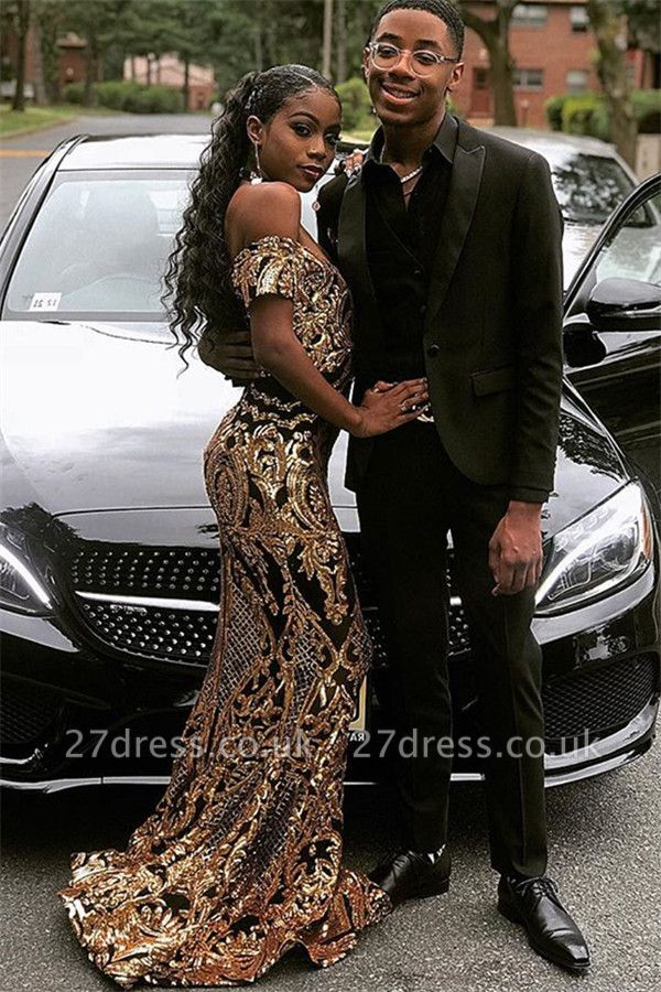 Glamourous Column Off The Shoulder Gold Applique Prom Dress UKes UK UK