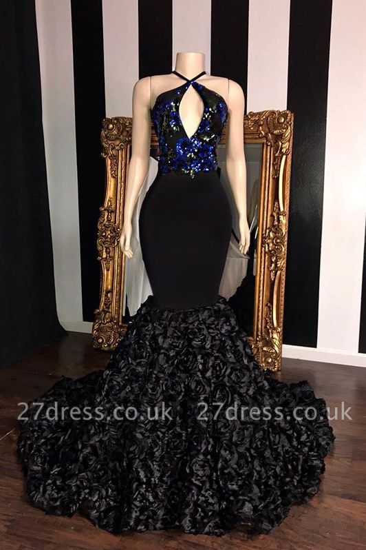Timeless black Sleeveless Florals Elegant Trumpt Prom Dress UKes UK UK | Sexy Halter Sequins Lace Appliques Evening Dress UKes UK
