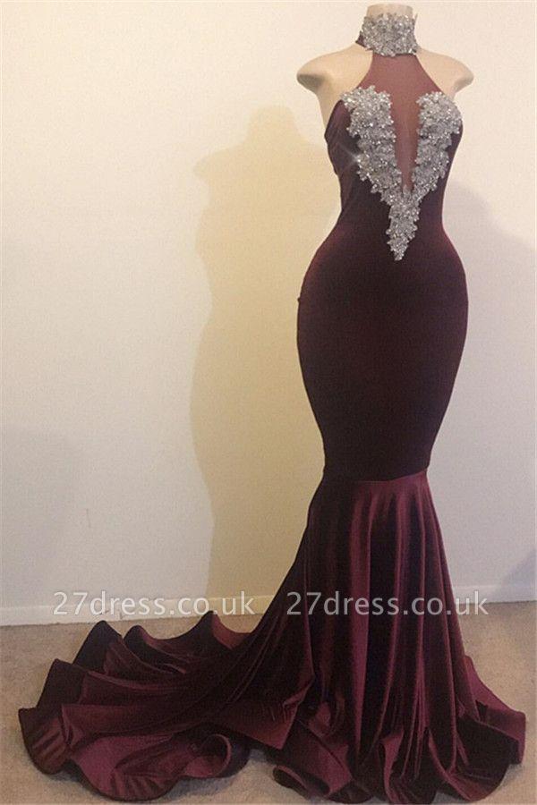 Burgundy Maroon Elegant Mermaid High Neck Velvet Prom Dress UKes UK UK