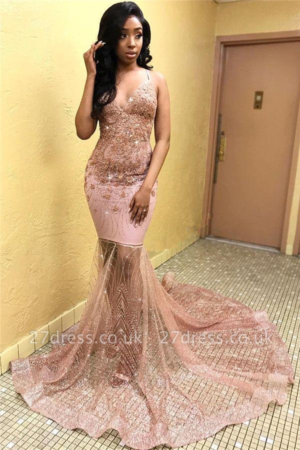 Elegant Pink Sleeveless Spaghetti Straps Tulle Lace Appliques Elegant Mermaid Prom Dress UKes UK UK