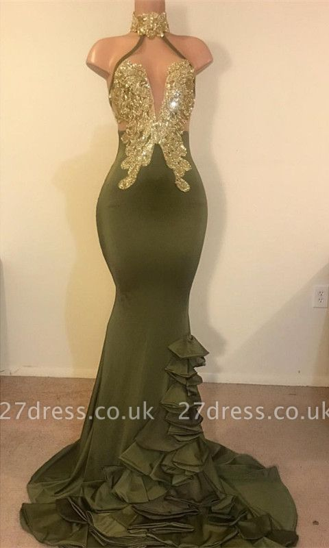 Timeless Column High Neck Ruffles Sequined Prom Dress UK