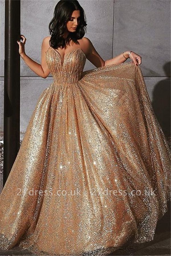 Champagne Elgant A-line Spaghetti Straps Backless Sequin Prom Dress UKes UK UK
