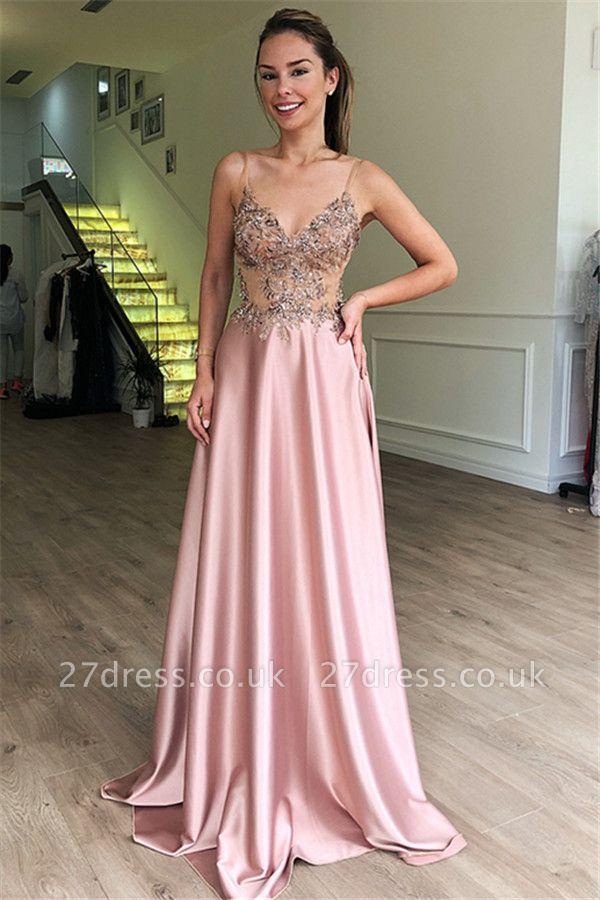 Luxury A-Line Spaghetti Straps Sleeveless Beads Pink Prom Dress UKes UK UK