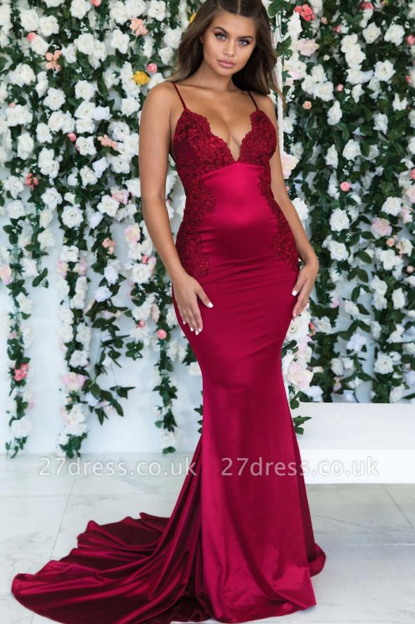 Wine Red Maroon Sleeveless Elegant Trumpt Backless Prom Dress UKes UK UK | Sexy Spaghetti-Straps Lace Appliques Evening Dress UKes UK