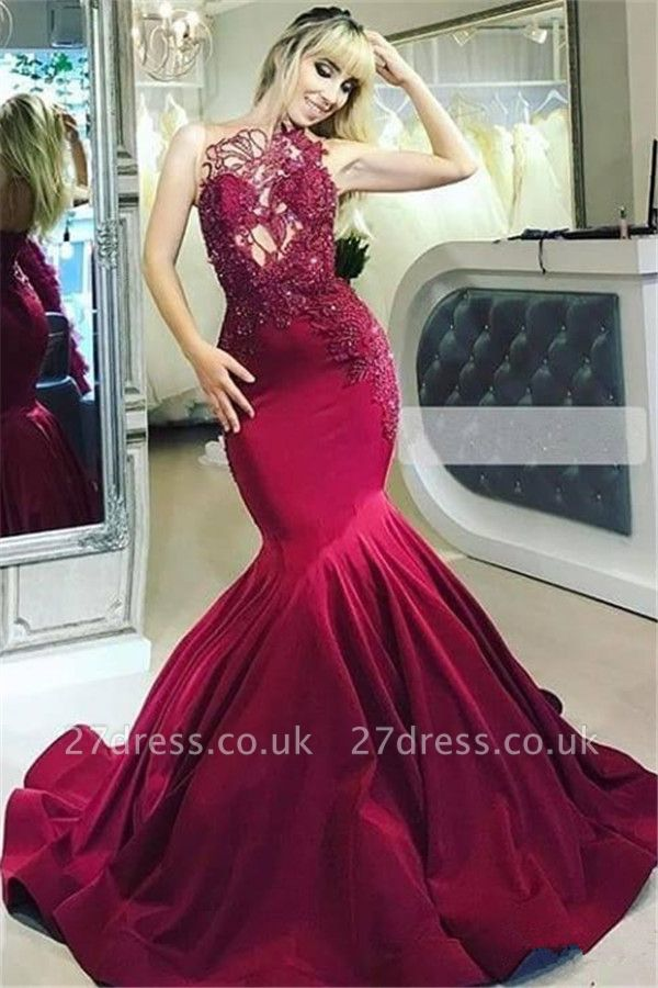 Burgundy Maroon Luxury Sheer Straps Applique Elegant Mermaid Prom Dress UKes UK UK