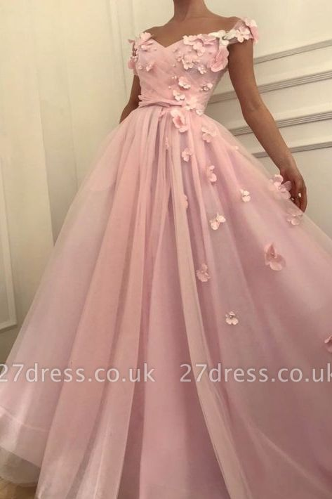 Sweet Pink Florals A-Line Tulle Long Sexy Prom Dress UK   Sexy Off-the-Shoulder Evening Dress UKes UK