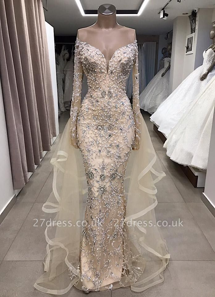 Luxury Long sleeve off-the-shoulder prom Dress UK with fully-covered beads