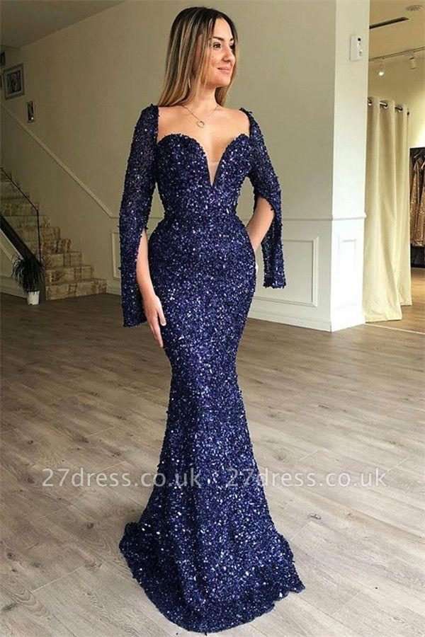 Sexy Elegant Mermaid Sweetheart Long Sleeves Sequin Prom Dress UKes UK UK