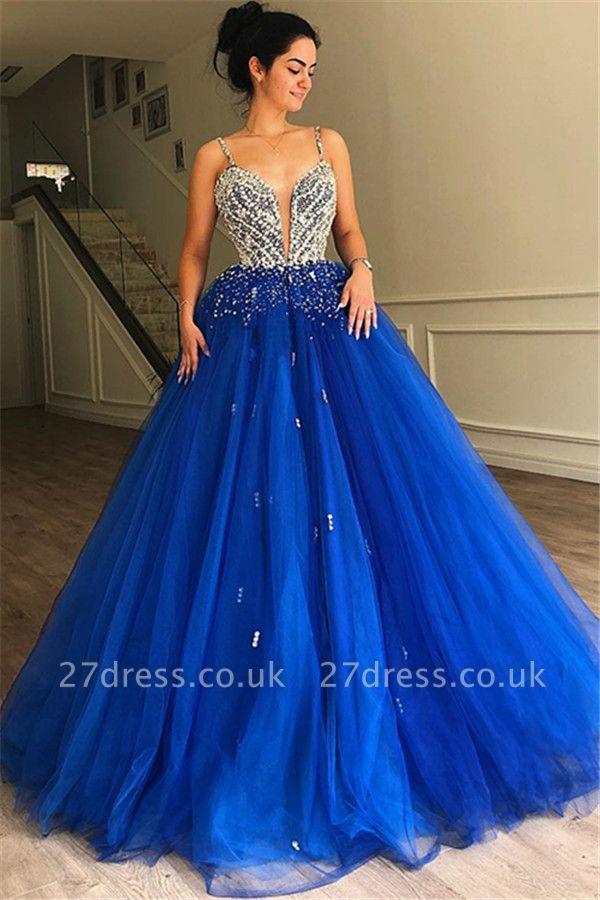 Luxury A-Line Spaghetti Straps Sleeveless Tulle Beads Affordable Evening Dress UKes UK UK