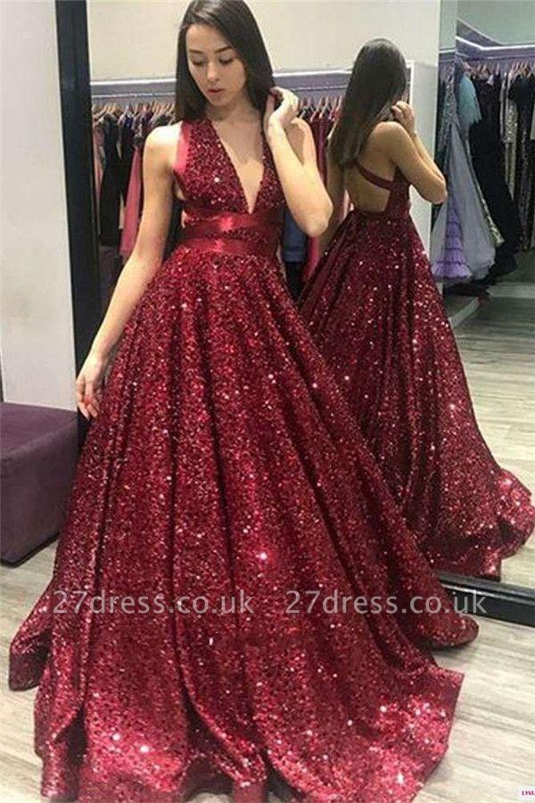 Sexy Alluring Deep V-neck Open-Back Prom Dress UKes UK UK | Elegant Halter Sequins A-Line Evening Dress UKes UK BC1055
