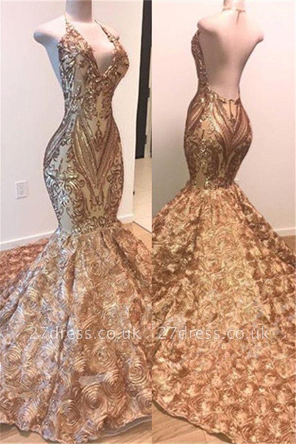 Simple Gold Sequins Sleeveless Prom Dress UK | Shiny Elegant Trumpt Evening Dress UKes UK With Florals Bottom