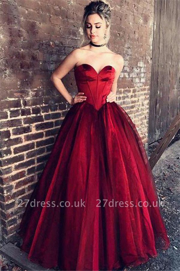 Red Sweetheart Ruffles Prom Dress UKes UK Sleeveless Tulle Sexy Evening Dress UKes UK