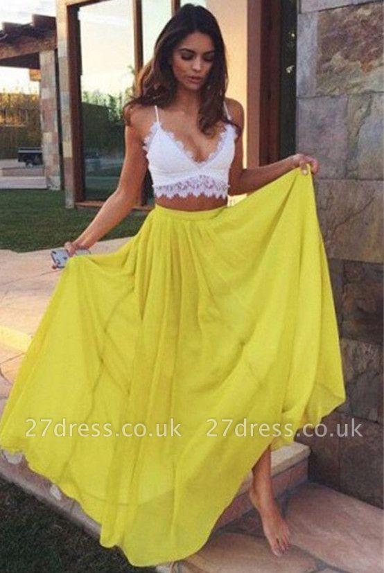 Charming Yellow Lace Elegant V-Neck Prom Dress UKes UK Two Pieces Spaghetti Strap Elegant Evening Dress UKes UK