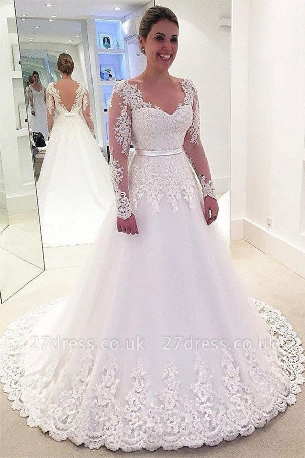 Gorgeous Appliques Wedding Dresses UK | Riboons Longsleeves Floral Bridal Gowns