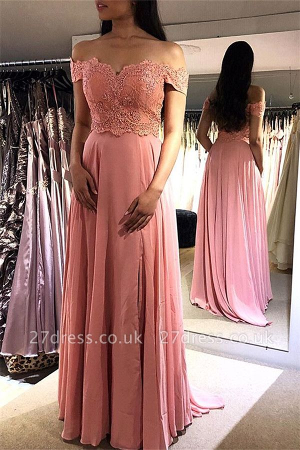 Sexy Pink Off-the-Shoulder Prom Dress UKes UK Lace Appliques Sexy Sleeveless Evening Dress UKes UK