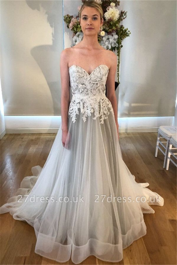 Sheer Appliques Sweetheart Wedding Dresses UK | Sleeveless Backless Floral Bridal Gowns