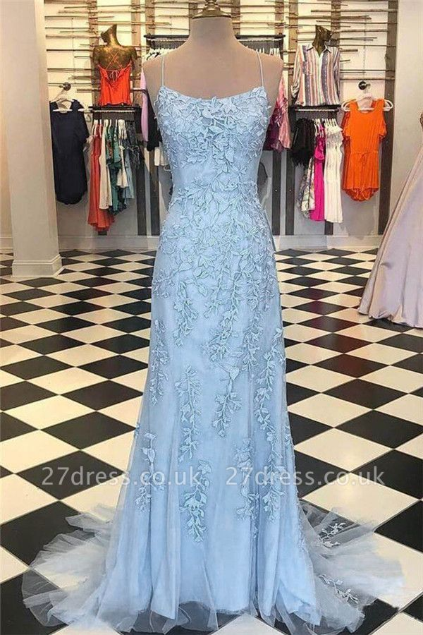 Sheer Lace Appliques Spaghetti-Strap Prom Dress UKes UK  Mermaid Sleeveless Evening Dress UKes UK