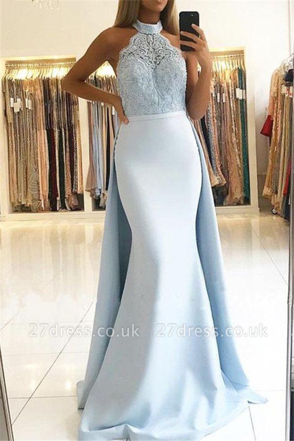Sexy Lace Over Skirt Halter Prom Dress UKes UK Mermaid Sexy Sleeveless Elegant Evening Dress UKes UK