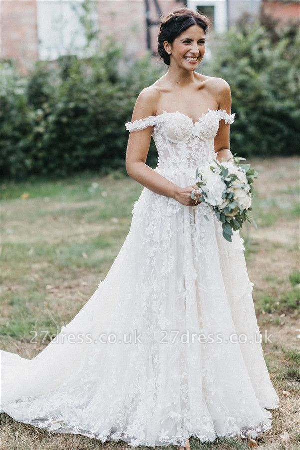 Flowers Off-the-Shoulder Wedding Dresses UK | Appliques Sheer Sleeveless Floral Bridal Gowns
