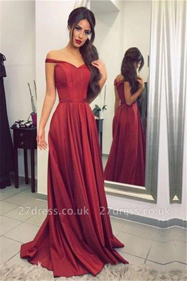 Ruffles Off-the-Shoulder Prom Dress UKes UK Simple Sleeveless Evening Dress UKes UK