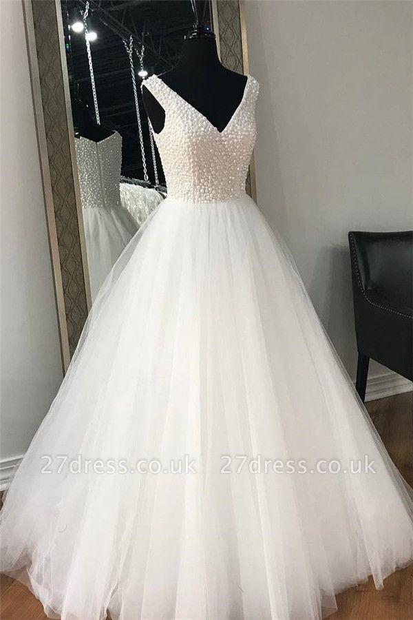 Sexy Sheer Beads Elegant V-Neck Prom Dress UKes UKSimple Sleeveless Evening Dress UKes UK
