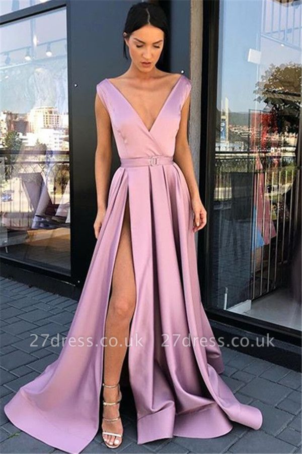 Sexy Pink Straps Deep-Alluring V-Neck Side-Split A-Line Prom Dress UK UKes UK