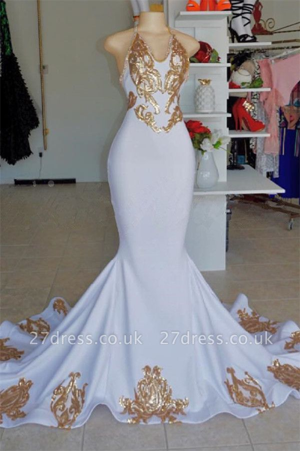 Halter Alluring V-Neck without Sleeve Gold Lace Appliques Prom Dress UK UK