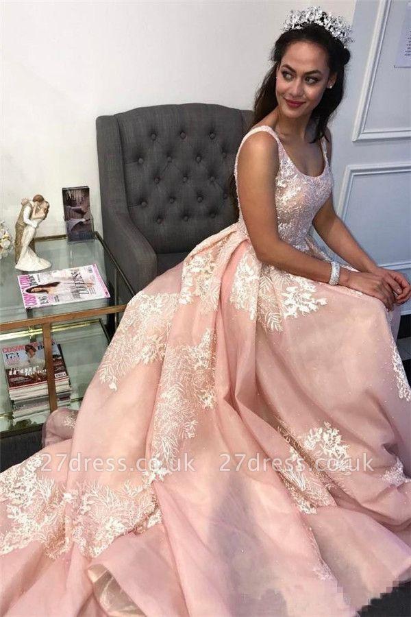 Sexy Pink Lace Appliques Straps  Prom Dress UKes UK Ruffle Sexy Sleeveless Evening Dress UKes UK