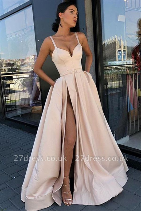 Gorgeous Spaghetti-Straps without Sleeve Side-Split A-Line Prom Dress UK UK