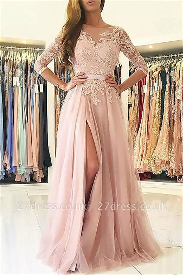 Sexy Lace Appliques Long Sleeves Prom Dress UKes UK Open Back Jewel Side Slit Evening Dress UKes UK with Sash