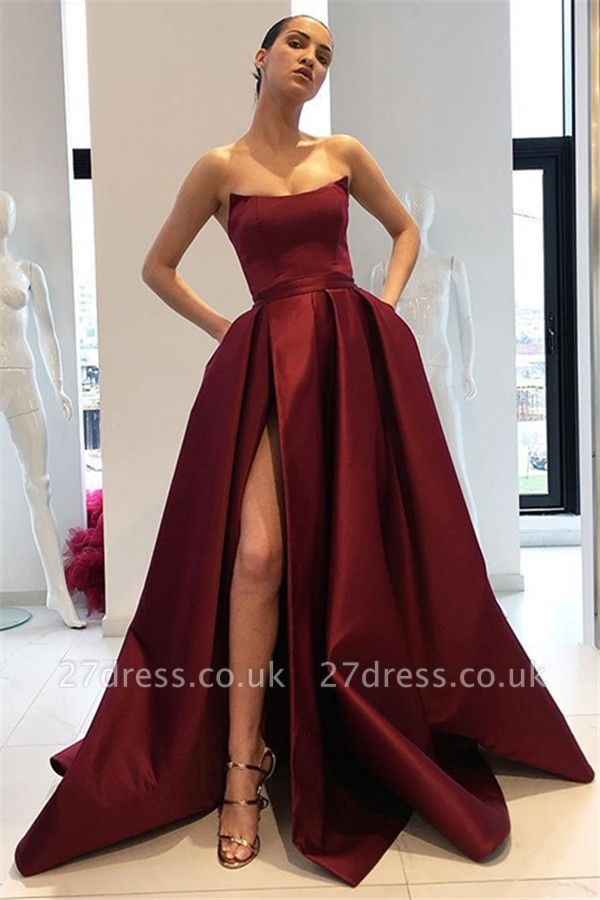 Burgundy Strapless Ruffles Prom Dress UKes UK Sleeveless Side Slit Elegant Evening Dress UKes UK with Pocket