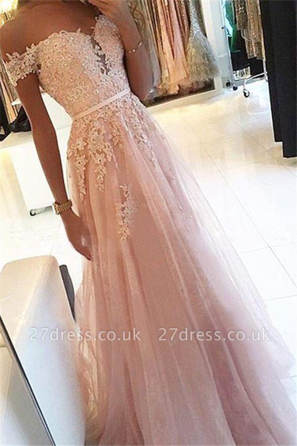 Pink Off-the-Shoulder Lace Appliques Prom Dress UKes UK Tulle Sleeveless Sexy Evening Dress UKes UK