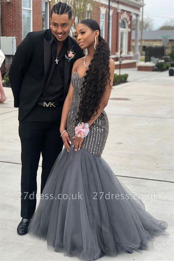 Sweetheart Sequins Prom Dress UKes UK Mermaid Tulle Sleeveless Evening Dress UKes UK with Beads