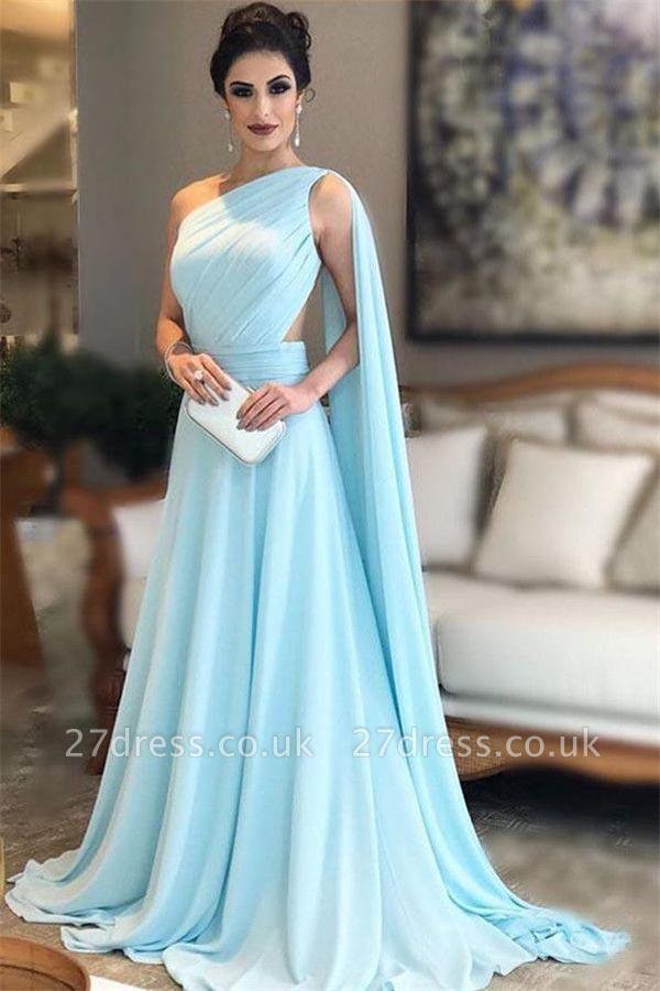 Sexy Ruffle Lace Appliques Oneshoulder Prom Dress UKes UK A-Line Over-Skirt Sleeveless Evening Dress UKes UK