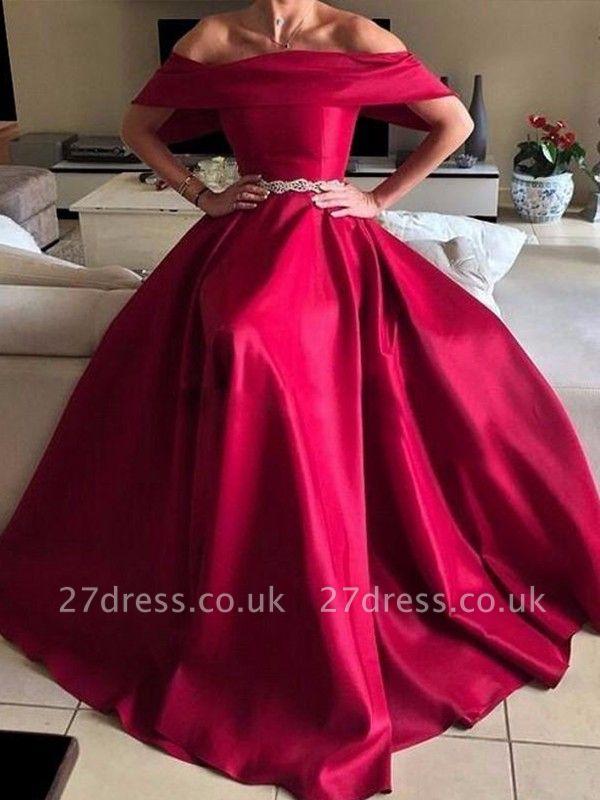 Sexy Off-the-Shoulder Ruffles Prom Dress UKes UK Sleeveless Elegant Evening Dress UKes UK with Sash