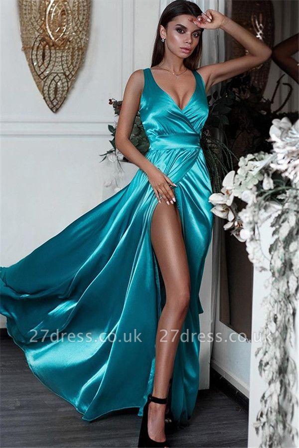 Sexy Side Slit Elegant V-Neck Prom Dress UKes UK Sleeveless Sexy Elegant Evening Dress UKes UK