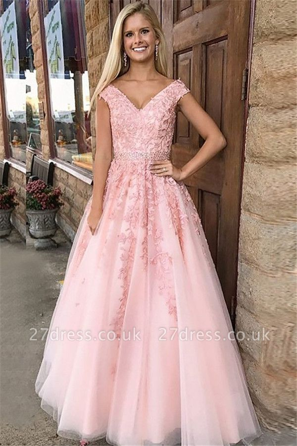Fashion Pink Off-the-Shoulder Prom Dress UKes UK Lace Appliques Crystal Sleeveless Evening Dress UKes UK with Sash