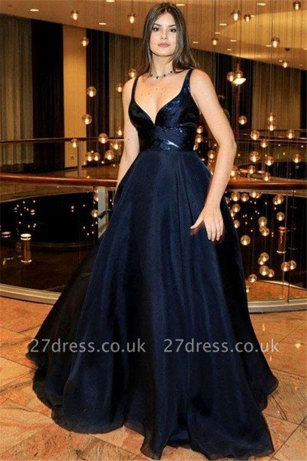 Black Spaghetti Strap Prom Dress UKes UK Sleeveless Sexy Tulle Elegant Evening Dress UKes UK