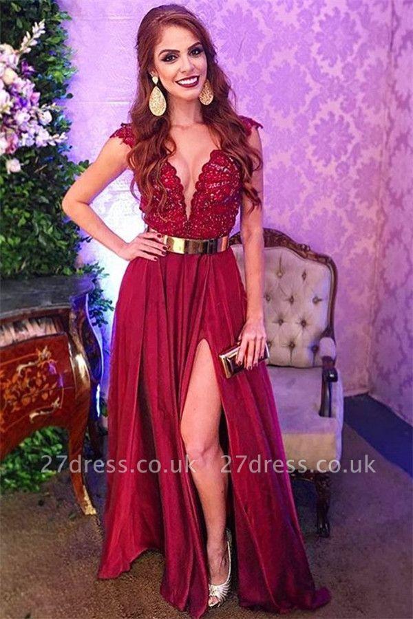 Simple Trendy Burgundy Maroon Straps Alluring V-Neck Applique Side-Split A-Line Prom Dress UK UK