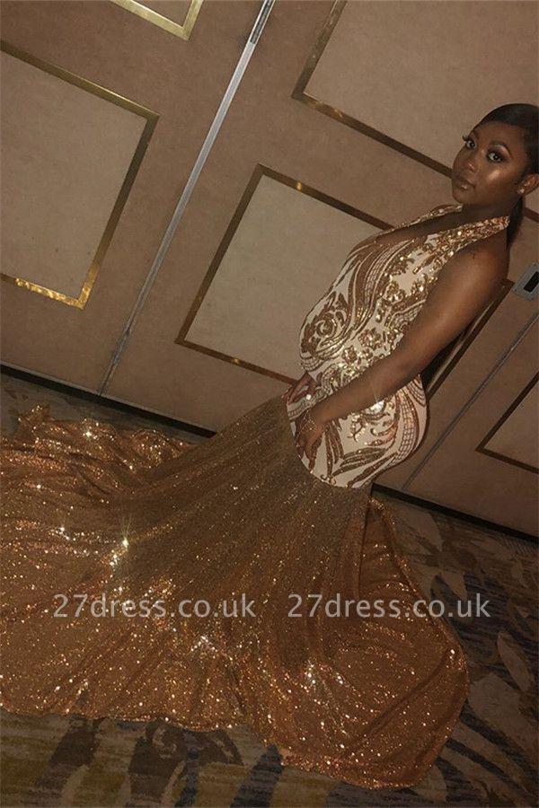 Sexy Gold Halter Sequins Prom Dress UKes UK Over Size Mermaid Sleeveless Evening Dress UKes UK