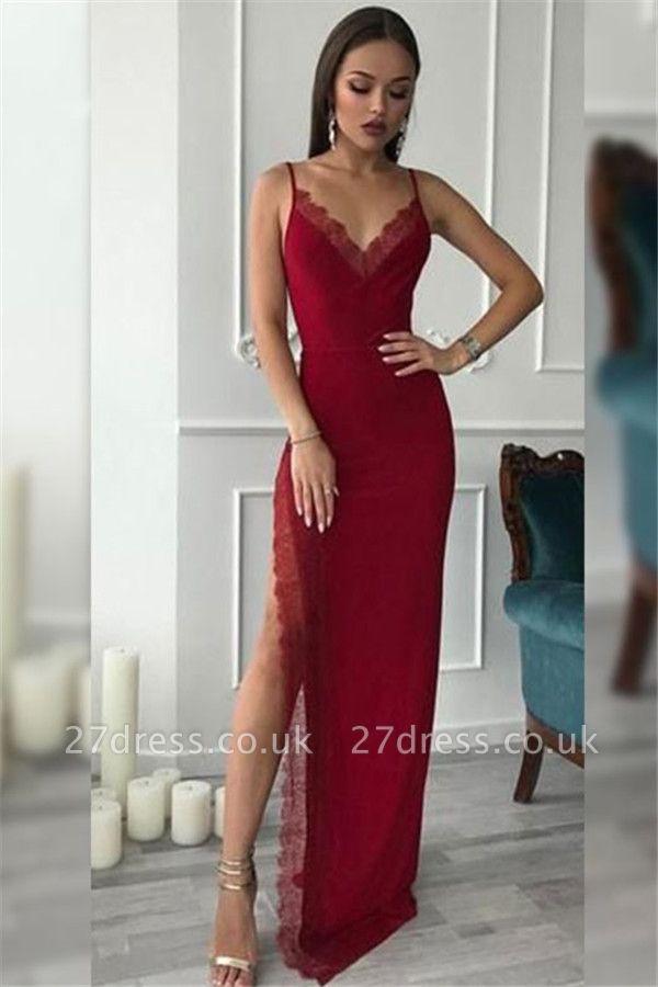Spaghetti Strap Lace Prom Dress UKes UK Side Slit Sleeveless Elegant Evening Dress UKes UK