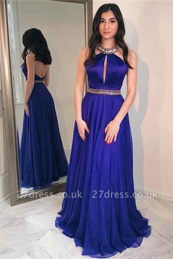 Sequins Halter Crystal Lace Appliques Prom Dress UKes UK Backless Keyhole Sheer Sleeveless Evening Dress UKes UK