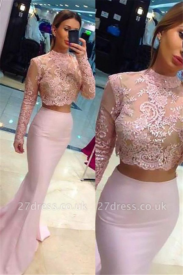 Sexy High Neck Lace Appliques Long Sleeves Prom Dress UKes UK Mermaid Pink Lace Two Piece Evening Dress UKes UK