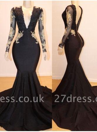 Long Sleeves Lace Appliques Elegant Mermaid Alluring V-Neck Long Prom Dress UK UKes UK